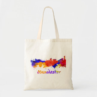 Manchester skyline in watercolor tote bag