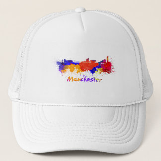 Manchester skyline in watercolor trucker hat