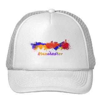 Manchester skyline in watercolor trucker hat