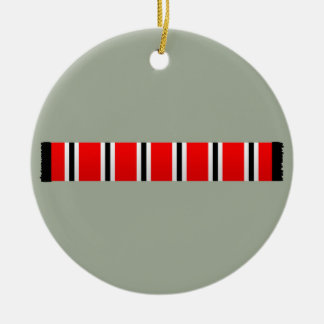 Manchester sporting red white and black bar scarf ceramic ornament