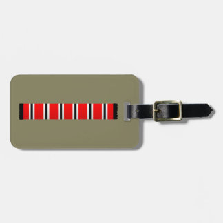 Manchester sporting red white and black bar scarf luggage tag