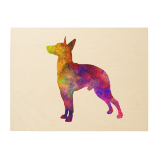 Manchester Terrier in watercolor Wood Canvas