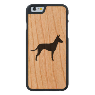 Manchester Terrier Silhouette Carved Cherry iPhone 6 Case