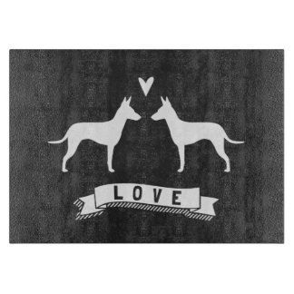 Manchester Terrier Silhouettes Love Cutting Board