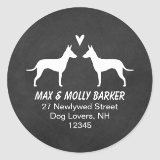 Manchester Terrier Silhouettes Love Return Address Classic Round Sticker