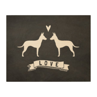 Manchester Terrier Silhouettes Love Wood Canvases