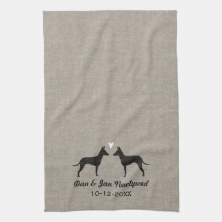 Manchester Terrier Silhouettes with Heart and Text Kitchen Towel