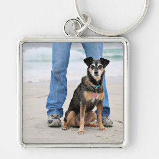 Manchester Terrier X - Jordan - Derr Silver-Colored Square Keychain