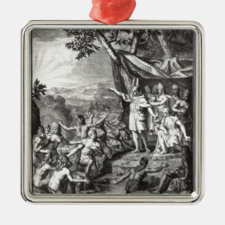 Manco Capac and his wife Silver-Colored Square Ornament