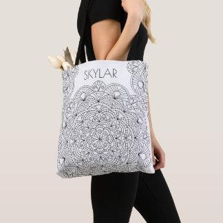 Mandala 010617 Adult Coloring Add Name Colorist Tote Bag