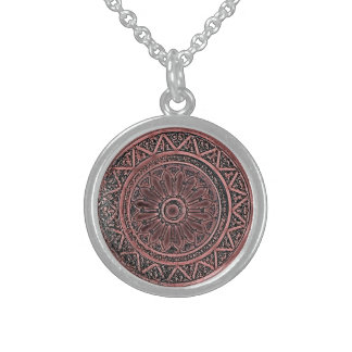 Mandala 010 in Brown Sterling Silver Necklace