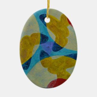 Mandala 4 ceramic oval ornament