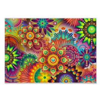 Mandala Abstract Spiritual Psychedelic Trippy Poster