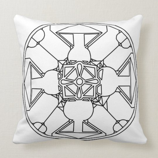 Mandala and Circle design Colour Me Pillow