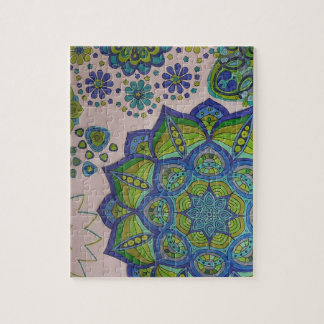Mandala and Flowers in Aqua, Blues and Greens Jigsaw Puzzle
