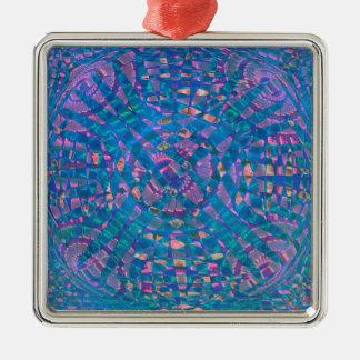 Mandala Aqua Metal Ornament