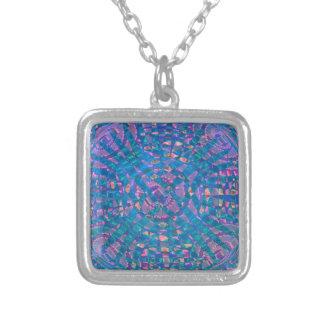 Mandala Aqua Silver Plated Necklace