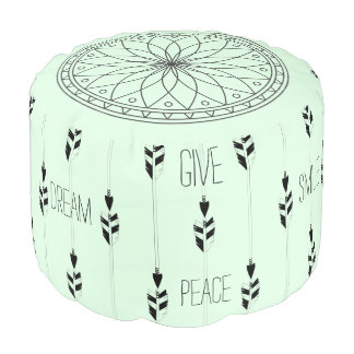 Mandala, arrows & Postive Words in Black and Mint Pouf