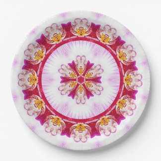 Mandala (B)  Nature Photography Purple Orchid Paper Plate