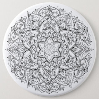 Mandala Badge 6 Inch Round Button