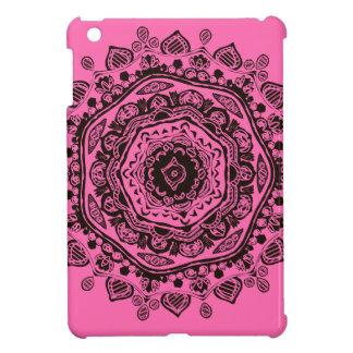 mandala - black on pink iPad mini cover