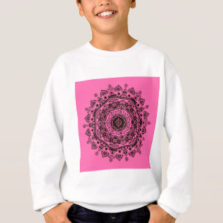 mandala - black on pink sweatshirt