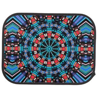 Mandala bleu et rouge noir tapis de sol