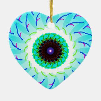 mandala blue flower ceramic ornament