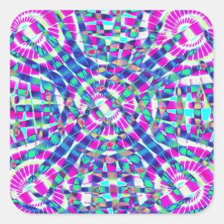 Mandala Blue Square Sticker