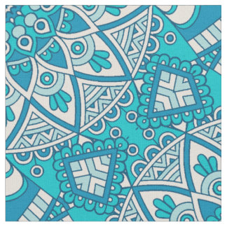 Mandala Blue tile pattern Fabric