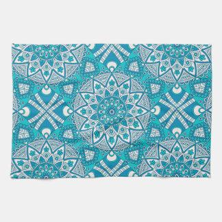 Mandala blue tile pattern kitchen towel