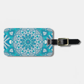 Mandala blue tile pattern luggage tag