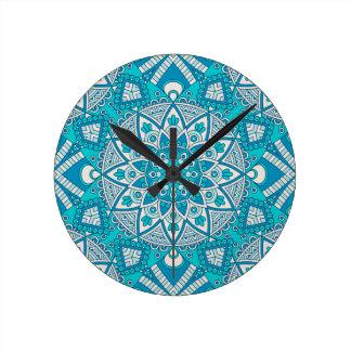 Mandala blue tile pattern round clock