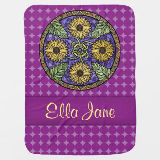 Mandala Bright Sunflowers Purple Name Custom Baby Blanket