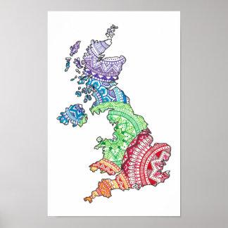 Mandala British Isles Poster