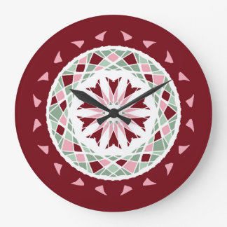 Mandala burgandy, green, pink mosaic wall clock