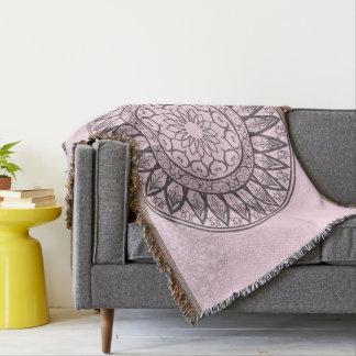 Mandala by Kimologie in Pink Throw Blanket