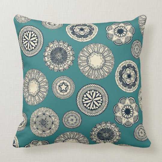 mandala cirque spot teal throw pillow