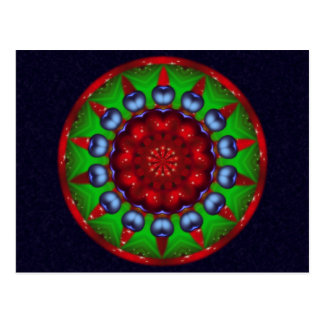 Mandala de kaléidoscope de roue de Noël Cartes Postales