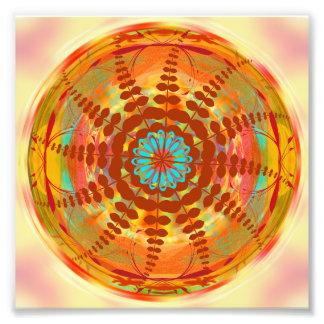 Mandala Design Flower Circle Energy Wheel Orange Photo Print