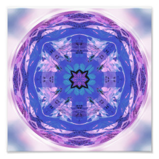 Mandala Design Flower Circle Energy Wheel Purple Photo Print