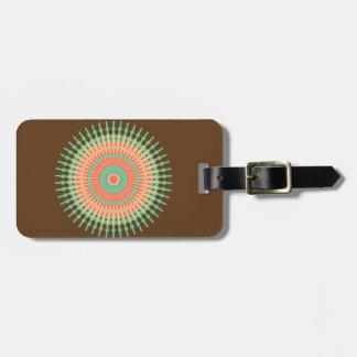 Mandala design green, orange Indian Luggage Tag