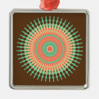 Mandala design green, orange Indian Metal Ornament