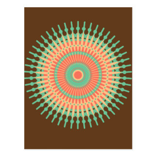 Mandala design green, orange Indian Postcard