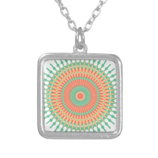 Mandala design green, orange Indian Silver Plated Necklace