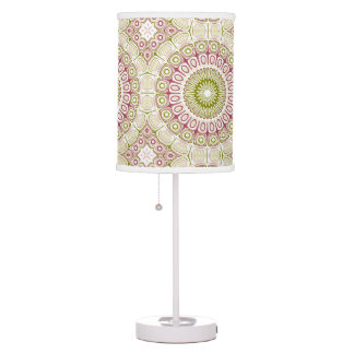 Mandala Design in Rose Pink and Olive Green Table Lamp