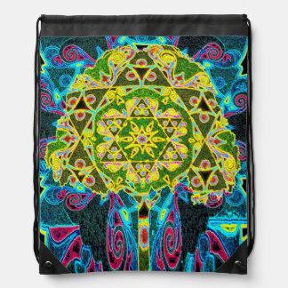 Mandala Designed Tree of Life Drawstring Bag