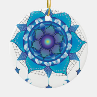 Mandala Dream Catcher Round Ceramic Ornament