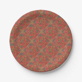 Mandala Fire Paper Plate