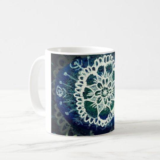 Mandala Floral  Mug Blue